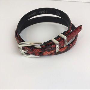 Brighton Red/Black Snake Skin Thin Belt